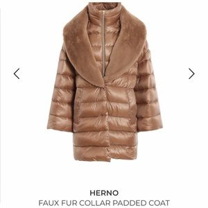 NWT Herno Faux Fur Coat Padded Removable Collar